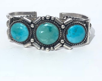 Vintage Native American Navajo Handmade Sterling Silver Turquoise Cuff Bracelet