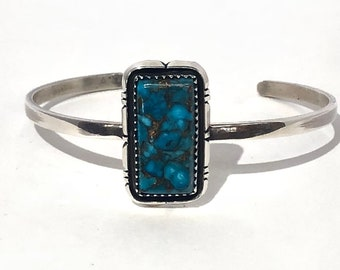 Native American Navajo Handmade Sterling Silver and Turquoise adjustable cuff Bracelet