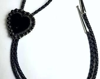 Native American Navajo handmade Sterling Silver Black Onyx stone heart bolo tie