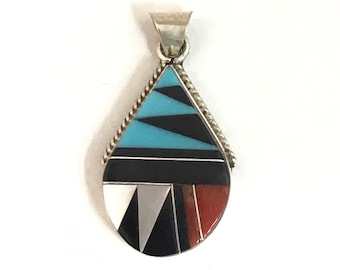 Native American Zuni Handmade Sterling Silver Turquoise Multi Stone Inlay Pendant