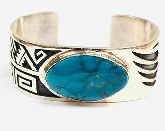 Native American Hopi handmade sterling silver Turquoise cuff bracelet