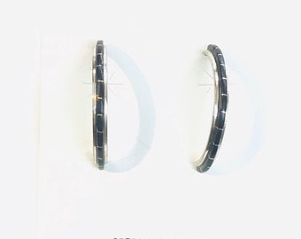 Native American Zuni handmade sterling silver onyx half hoop earrings