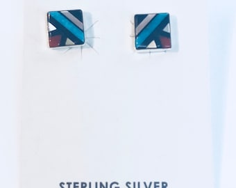 Native American Zuni Handmade Stering Silver Mutlicolored earrings