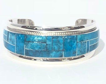 Native American Navajo handmade sterling silver turquoise inlay cuff bracelet