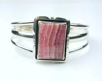Native American Navajo handmade Sterling Silver Rhodochrosite bracelet