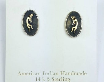 Native American Navajo handmade Sterling Silver 14k Gold overlay Kokopelli stud earrings