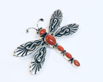 Native American Navajo handmade sterling silver Mediterranean coral pin/pendant dragonfly