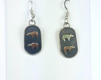 Native American Navajo handmade Sterling Silver 14k Gold overlay bear dangle drop earrings