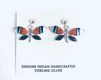 Native American Navajo handmade sterling silver butterfly dangle earrings inlaid with multi-colored stones