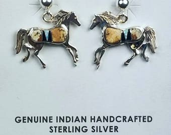 Native American Zuni handmade Sterling Silver multi-stone inlay post earrings