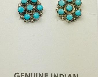 Native American Zuni handmade Sterling Silver Sleeping Beauty Turquoise Earrings