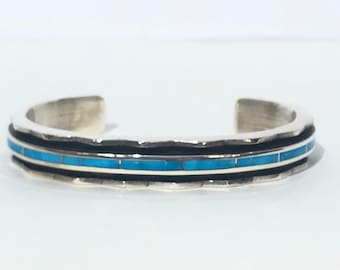 Larry Loretto Turquoise Cuff Bracelet: Native American Zuni Handmade Sterling and Turquoise inlay Cuff Bracelet