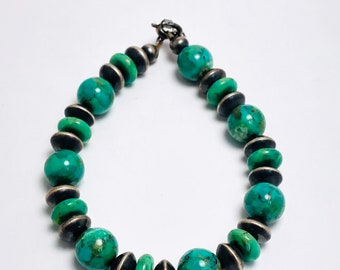 Native American Handcrafted Navajo Sterling Silver Turquoise Bead Bracelet