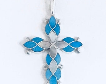 Native American Zuni Handmade Sterling Silver Turquoise Mother of Pearl Shell Inlay Cross Pendant