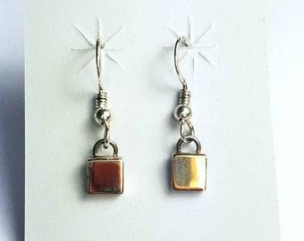 Native American Navajo handmade Sterling Silver 14k Gold overlay dangle drop earrings