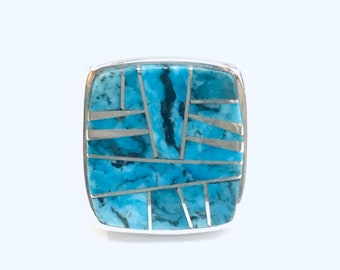 Native American Navajo handmade sterling silver Turquoise mens ring