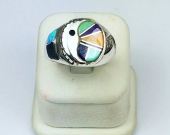 Native American Navajo handmade heavy gauge Sterling Silver multi-stone inlay ring
