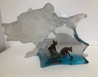 "Lucite and Bronze Bear Sculpture callled ""The Mothers Pride"" by K. Cantrell"