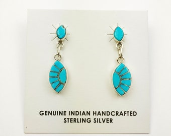 Native American Navajo Handmade Sterling Silver Sleeping Beauty Earrings