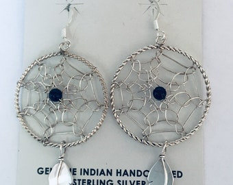 Native American Navajo handmade Dream catcher sterling silver earrings with 2 onyx stones