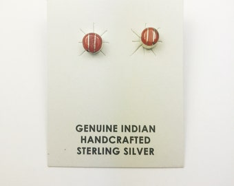 Native American Navajo Handmade Sterling Silver Coral Earrings