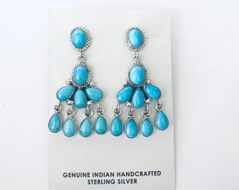 Native American Zuni handmade sterling silver And sleeping beauty turquoise chandelier earrings