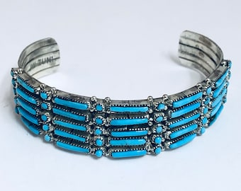 Native American Zuni Handmade Sterling Silver and Sleeping Beauty Turquoise Cuff Bracelet