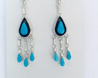 Native American Zuni handmade sterling silver and turquoise earrings