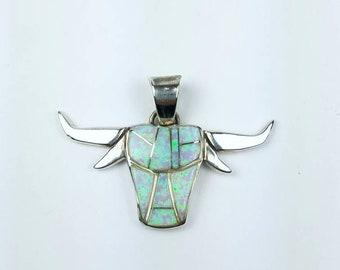 Native American Navajo handmade Sterling Silver Opal inlay pendant by Calvin Begay