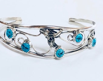 Native American Navajo handmade sterling silver cuff bracelet set with Kingman Turquoise