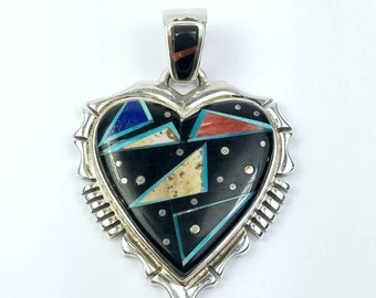 Native American Navajo handmade Sterling Silver multi-stone inlay heart pendant