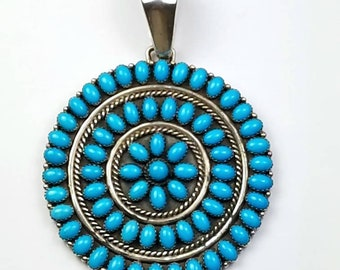 Native American Zuni handmade Sterling Silver Big Sleeping Beauty Turquoise pendant