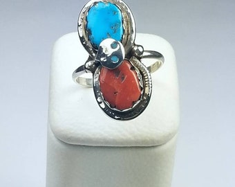 Native American Zuni handmade Sterling Silver Turquoise and Coral ring