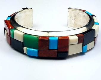 Vintage Native American handmade Sterling Silver cobble stone inlay cuff bracelet by Christin Wolf