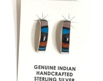 Native American Zuni Sterling Silver Multi Stone Inlay Hoop Earrings