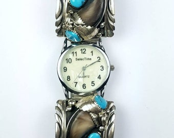 Native American Navajo handmade Sterling Silver Kingman Turquoise Coral stone watch