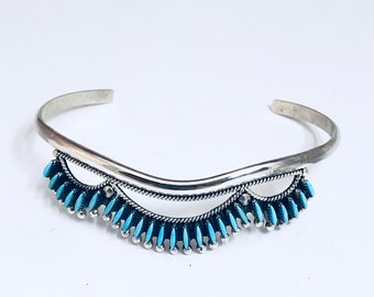 Native American Zuni Handmade Sterling Silver And Sleeping Beauty Turquoise Needlepoint Cuff Bracelet