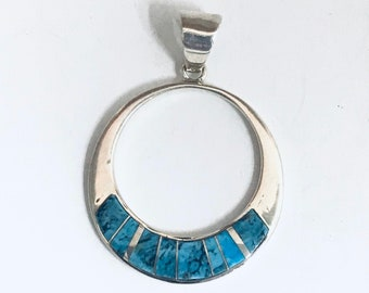 Native American Navajo Handmade Sterling Silver Turquoise Inlay Pendant