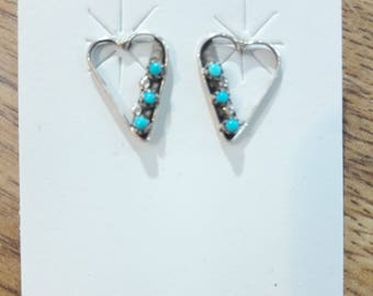 Authentic Native American handmade sterling silver heart design post earrings set with hand cut petit-point genuine turquoise stones