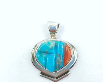 Native American Navajo handmade Sterling Silver multi-stone cobblestone inlay pendant
