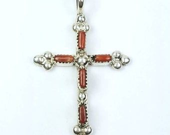 Native American Zuni handmade Sterling Silver Coral needle point cross pendant