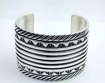 Native American Navajo handmade Sterling Silver cuff bracelet by Elvira Bill