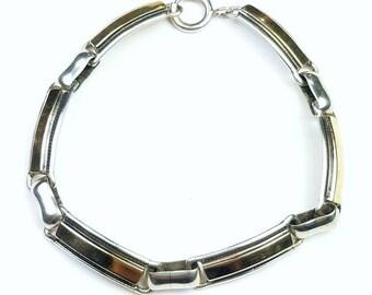 Native American Navajo handmade Sterling Silver 14k Gold overlay link bracelet