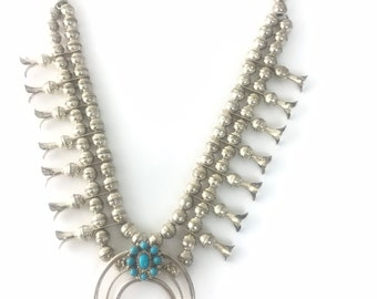 Native American Navajo handmade Sterling Silver and Turquoise Squash Blossom Necklace