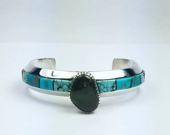 Native American Navajo handmade heavy gauge Sterling Silver multi-stone channel inlay cuff bracelet