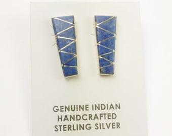 Native American Navajo Handmade Sterling Silver Denim Lapis Earrings