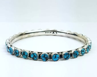 Native American Navajo handmade Sterling Silver Kingman Turquoise bangle bracelet