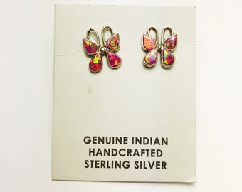 Native American Navajo Handmade Sterling Silver Pink Opal Butterfly Earrings
