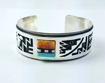 Native American Navajo handmade Sterling Silver inlay multi-stone cuff bracelet by Timothy Yazzie