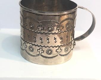 Native American Navajo handmade sterling silver cup